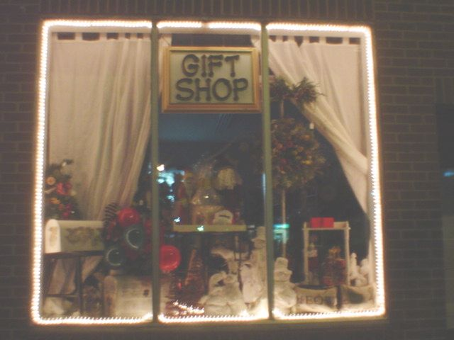 The Little Shop of Treasures Decorated for the Holidays.