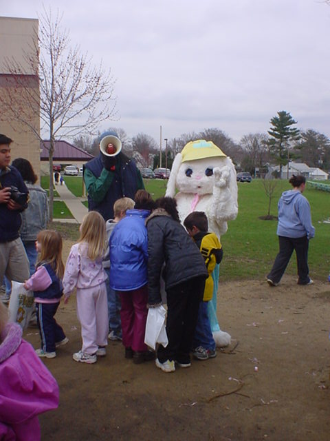 Children Gathering Around the Easter Bunny