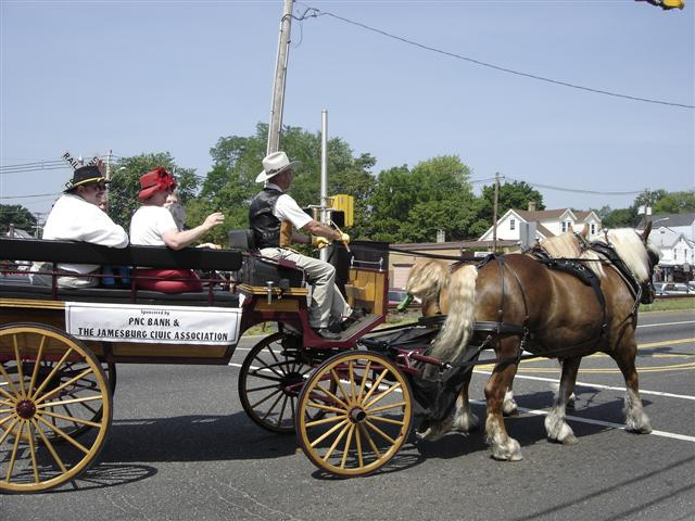 A horse-drawn carriage in Jamesburg! Sponsored by PNC Bank and the Jamesburg Civic Association.